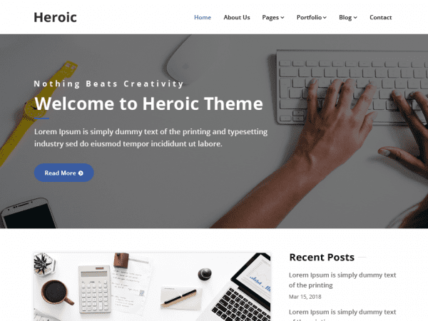 Free Heroic WordPress theme