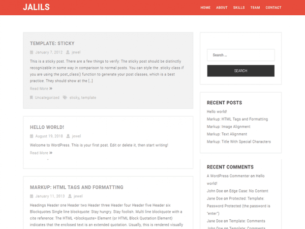 Free Jalil WordPress theme