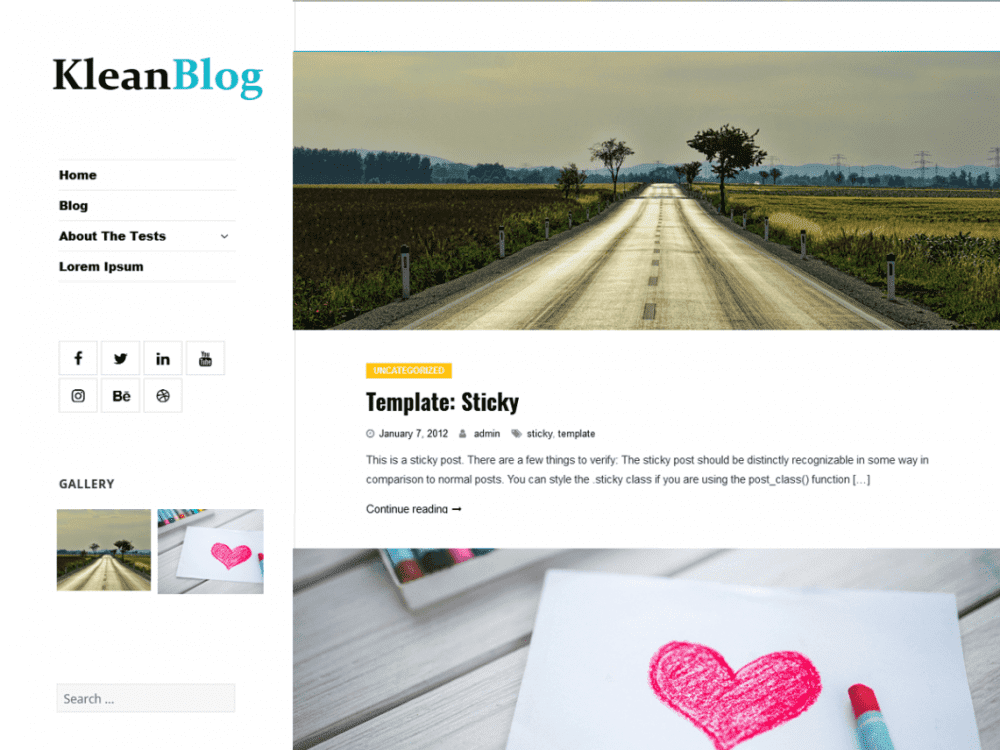 Free Klean Blog WordPress theme