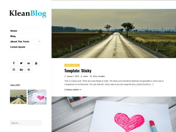 Free Klean Blog WordPress theme