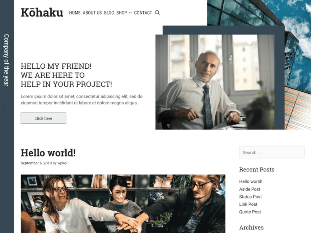 Free Kohaku WordPress theme