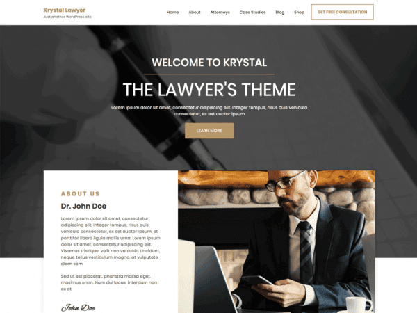 Free Krystal Lawyer WordPress theme
