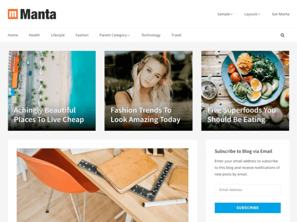 Free Manta WordPress theme