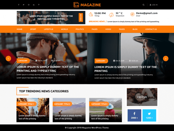 Free Multipurpose Magazine WordPress theme