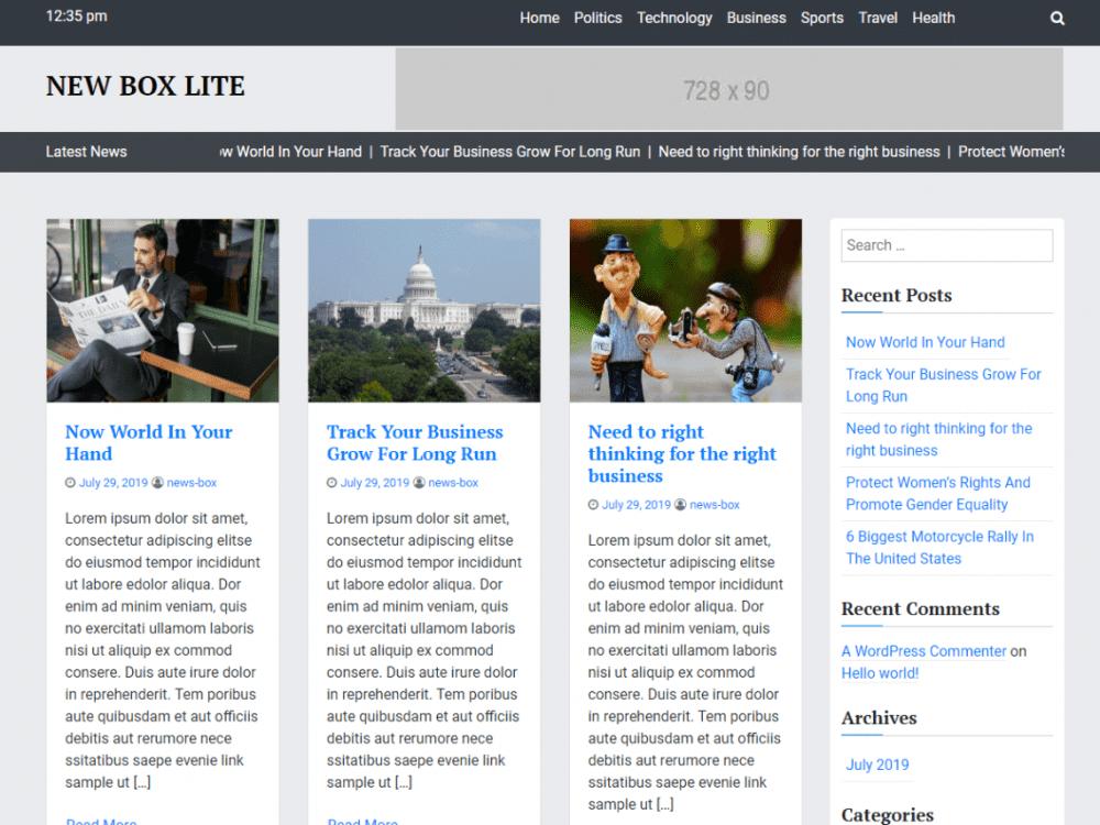 Free News Box Lite WordPress theme