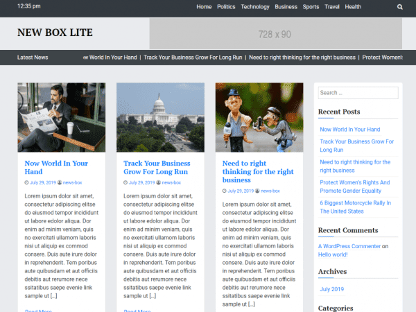 Free News Box Lite WordPress theme