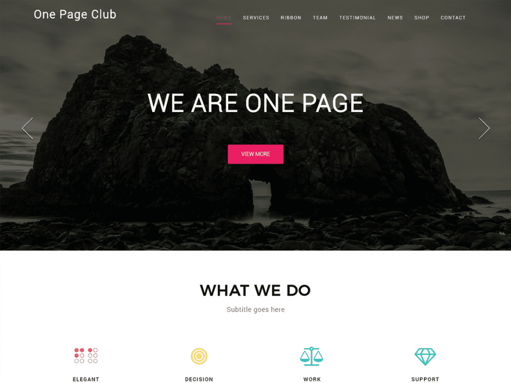 Free One Page Club WordPress theme