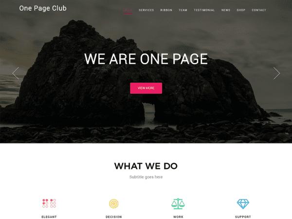 Free One Page Club WordPress theme
