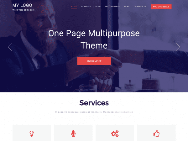 Free One Page Multipurpose WordPress theme