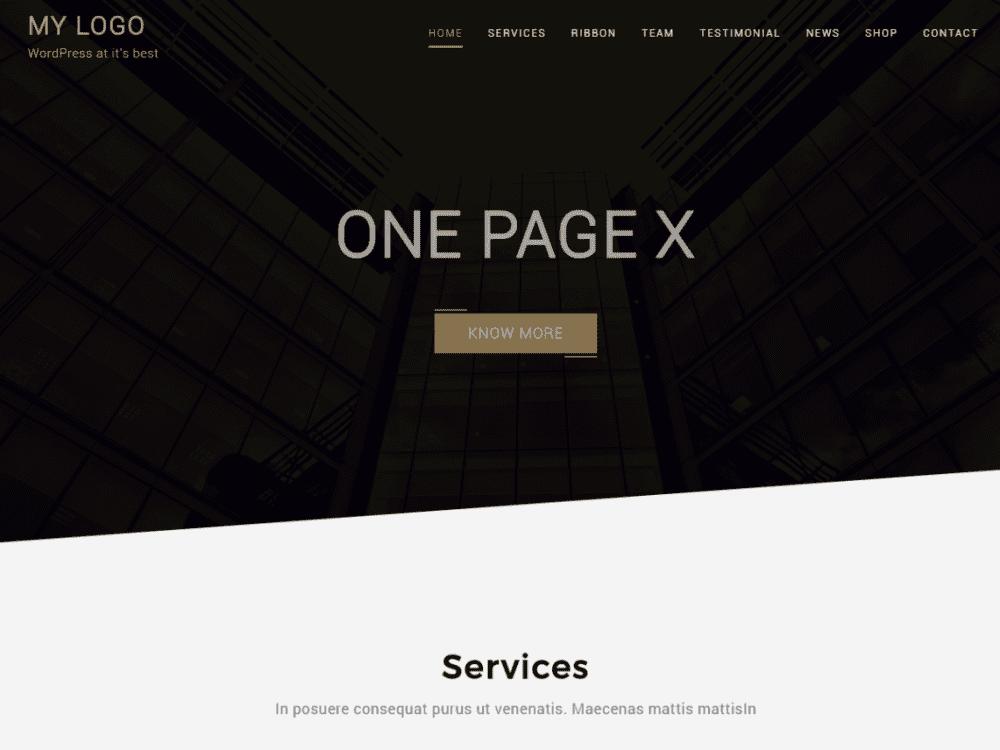 Free One Page X WordPress theme