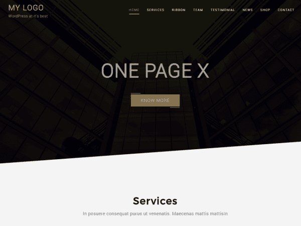 Free One Page X WordPress theme