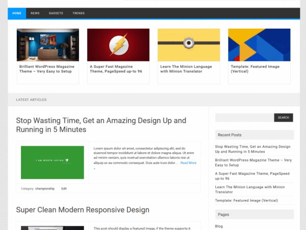 Free Publisho WordPress theme
