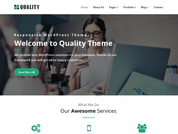 Free Quality Green WordPress theme