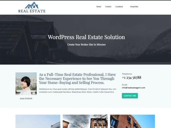 Free Real Estate Agent WordPress theme