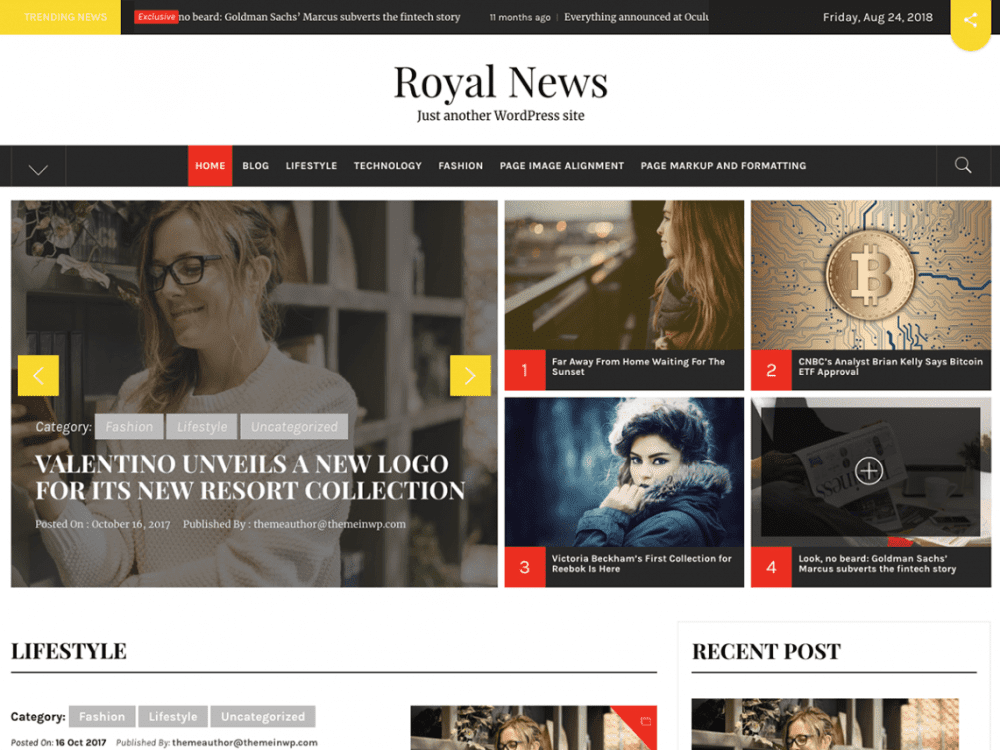 Free Royal News WordPress theme