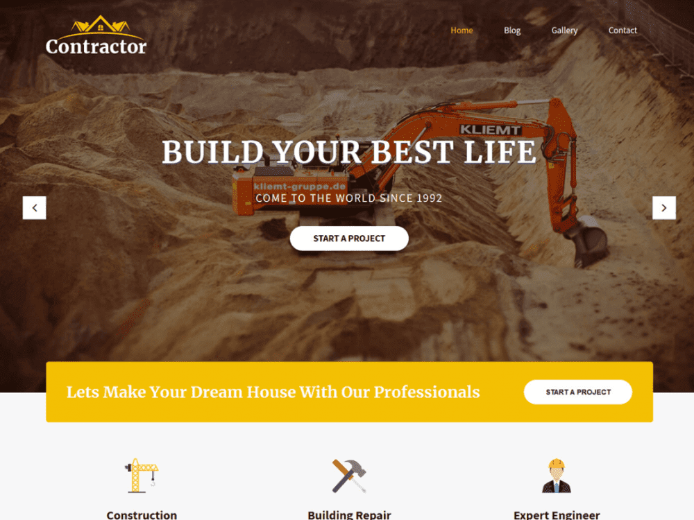 Free SKT Contractor WordPress theme
