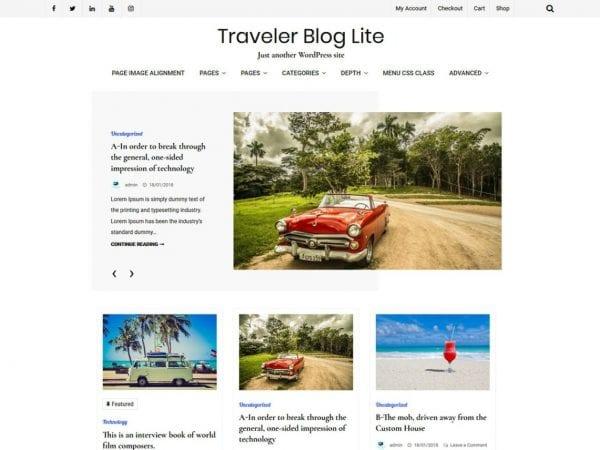 Free Traveler Blog Lite WordPress theme