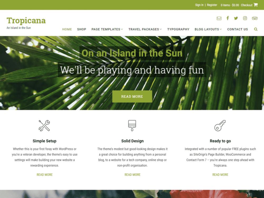 Free Tropicana WordPress theme