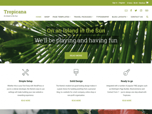 Free Tropicana WordPress theme