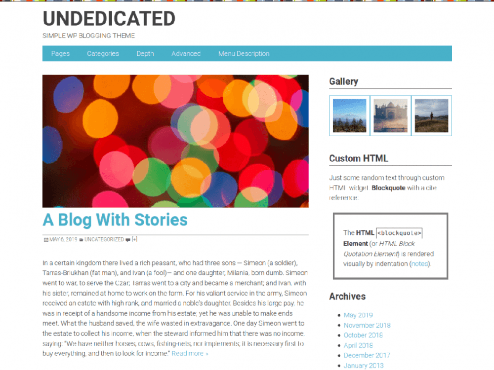 Free Undedicated WordPress theme