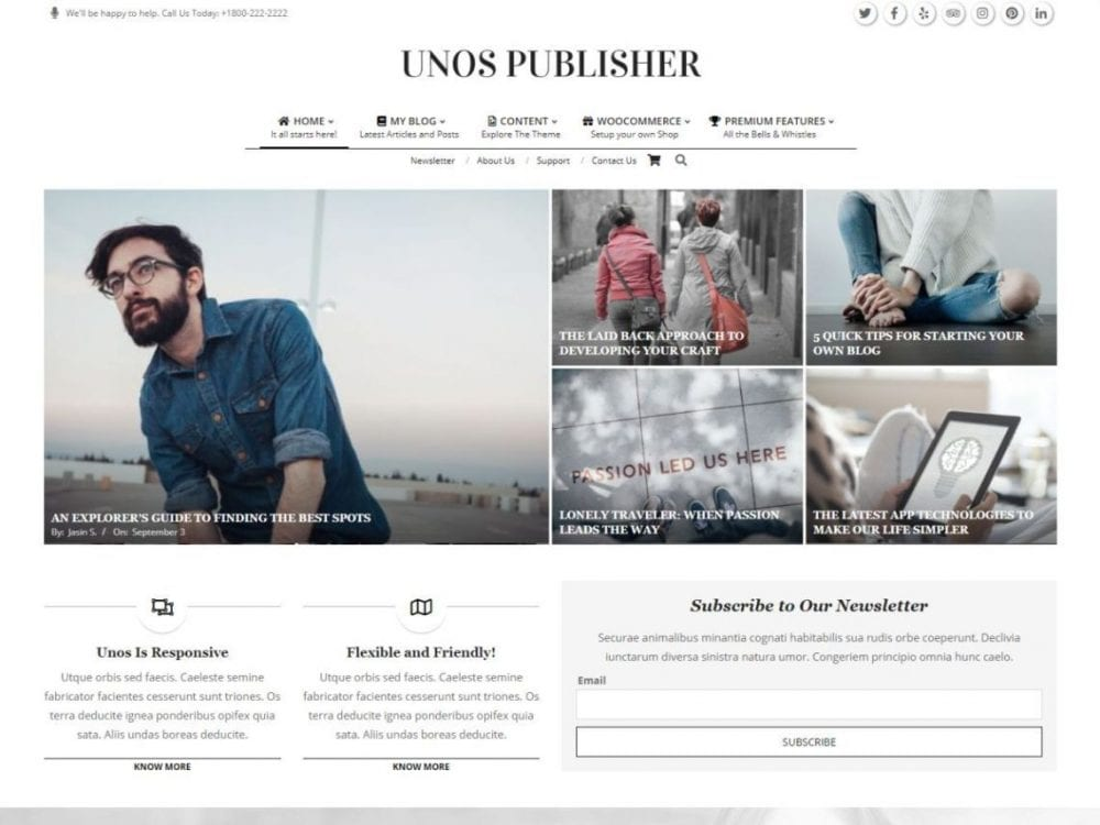 Free Unos Publisher WordPress theme
