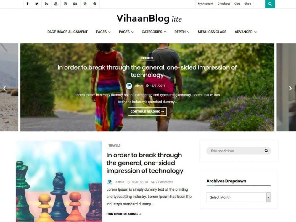 Free Vihaan Blog Lite WordPress theme