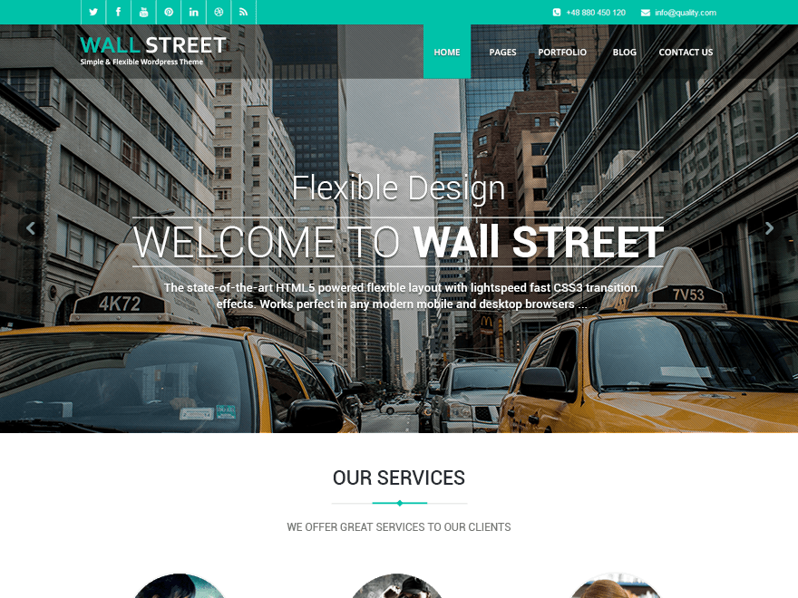Free Wallstreet Light WordPress theme