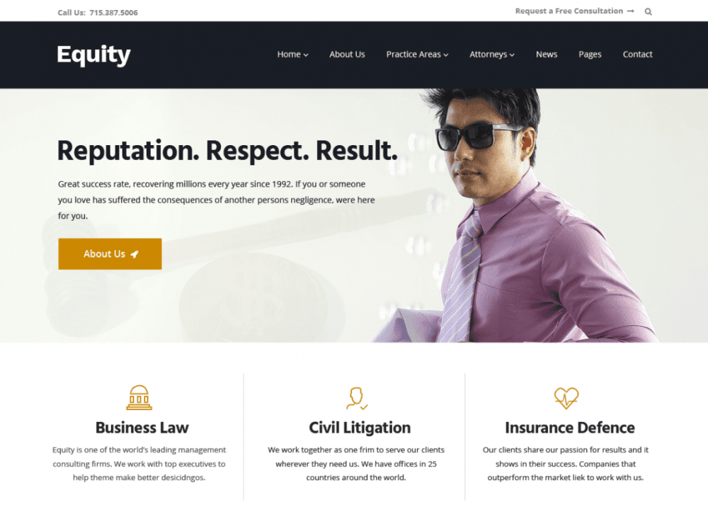 Free Equity WordPress theme