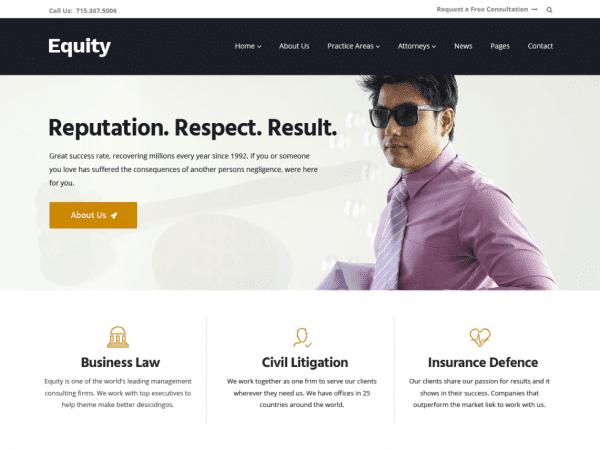 Free Equity WordPress theme
