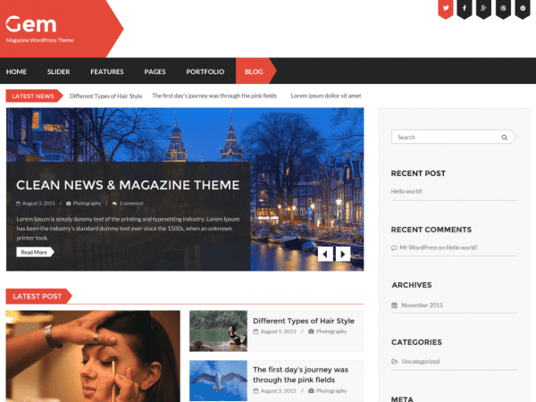 Free Gem WordPress theme