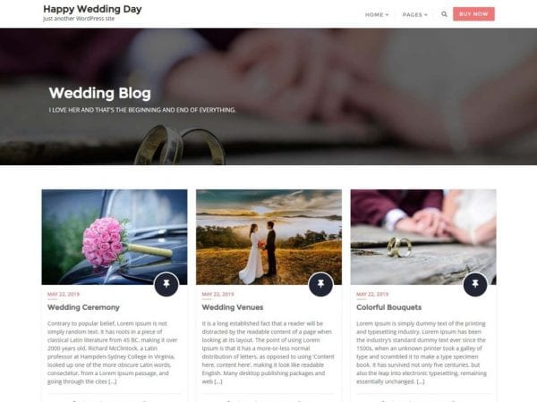 Free Happy Wedding Day WordPress theme