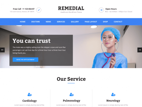 Free Remedial WordPress theme