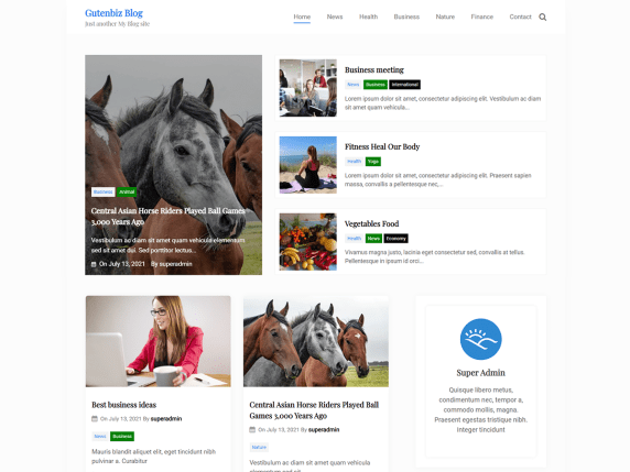 Gutenbiz Blog WordPress Theme
