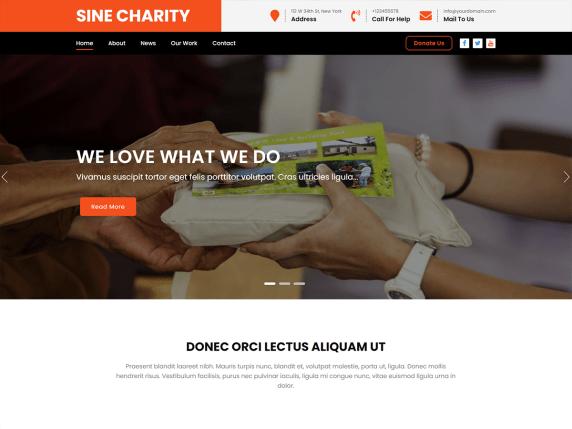 Sine Charity WordPress Theme